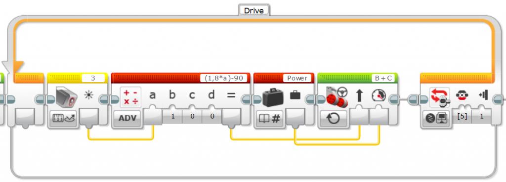 Converting light sensor values (0 - 100) into steering values (-90 - +90)