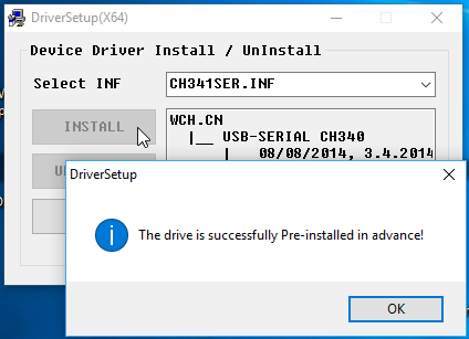 Install USB Drivers for CH340 chipset